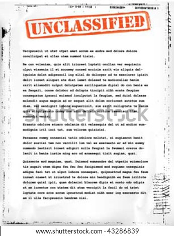 unclassified document template - stock vector