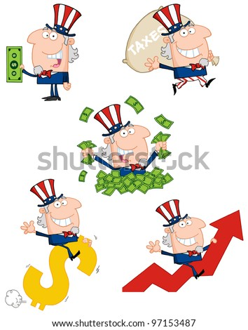 Uncle Sam Cartoon style. Vector Collection.Jpeg version also available in gallery. - stock vector
