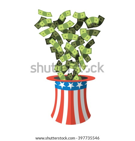 Uncle Sam hat and money. American Cap for independence day. Cylinder and dollars. Cash drop of header. National Patriotic napper in America - stock vector