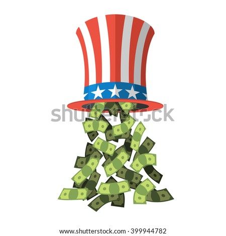 Uncle Sam hat and money. American hat for independence day. Cylinder and dollars.  - stock vector