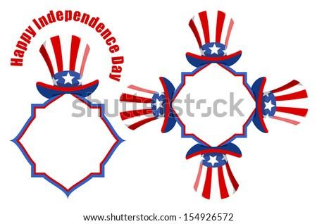 Uncle sam hat - Patriotic USA theme Vector set - stock vector