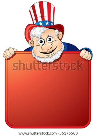 Uncle Sam holding a blank sign for your text - stock vector