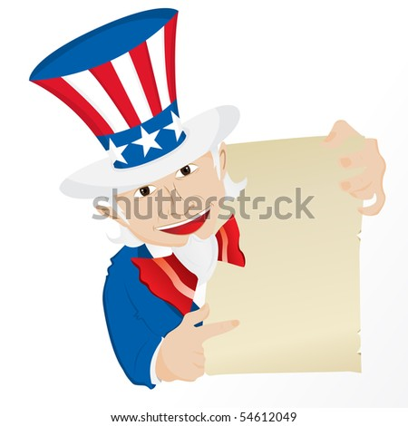 Uncle Sam Holding Sign. Editable Vector Illustration - stock vector