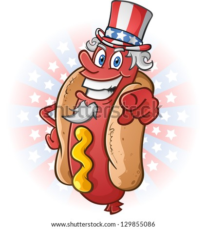 Uncle Sam Hot Dog Cartoon Character on The Fourth of July - stock vector