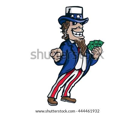 Uncle Sam Patriotic American Caricature  - Money Politics On Board - stock vector