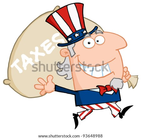 Uncle Sam Runs And Carries A Bag Of Money - stock vector
