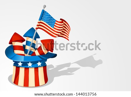 Uncle Sam's Hat with fireworks - stock vector