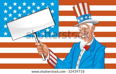 Uncle sam with blank sign - stock vector