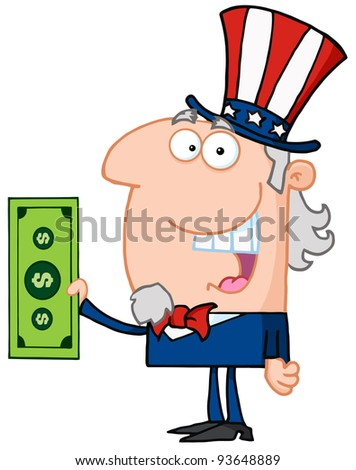 Uncle Sam With Holding A Dollar Bill - stock vector