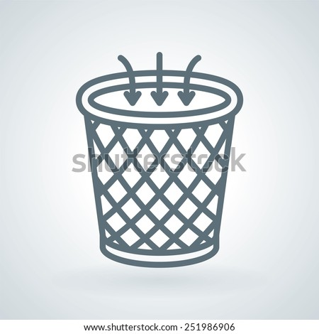 Unclutter, Trash Bin Line Icon - stock vector