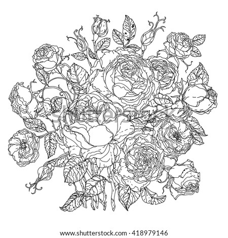 Uncolored colouring book style luxury roses in zenart style, could be used for Adult colouring book. Hand-drawn, doodle, vector the best for your design, wedding cards, coloring book. Black and white. - stock vector