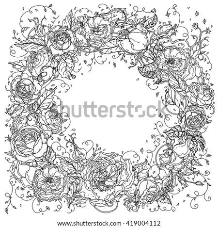 What Is Zen Design uncolored frame roses zen art style stock vector 422177920