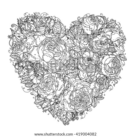 Uncolored heart by roses in zenart style, could be used for Adult colouring book. Hand-drawn, doodle, vector the best for your design, wedding cards, coloring book. Black and white. - stock vector