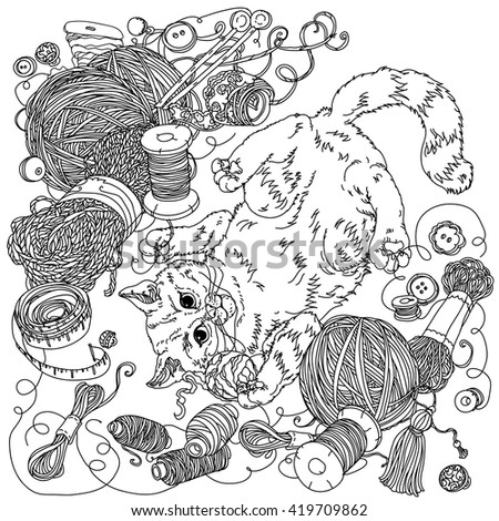 uncolored kitten playing with needlework of yarn and needlework items in coloring book style hand - Coloring Book Yarns