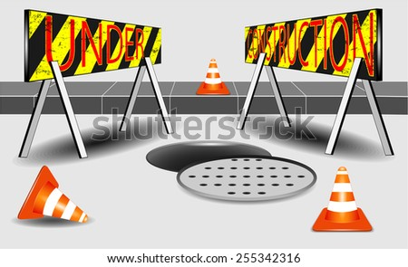 Under construction and open sewer and orange white cone vector - stock vector