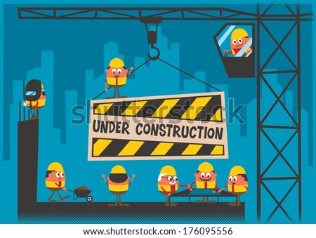 Under Construction background. No transparency and gradients used. - stock vector