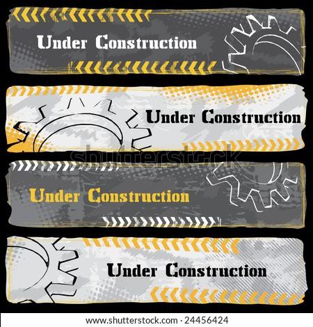 Under Construction Banners - Dark - stock vector