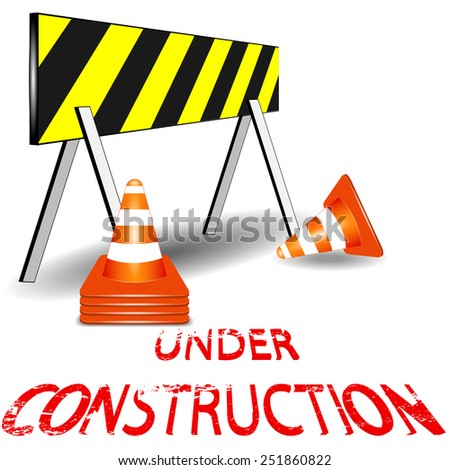 Under construction barrier and orange white cone vector - stock vector