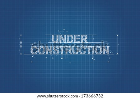 Under construction blueprint, technical drawing, scribble style - stock vector