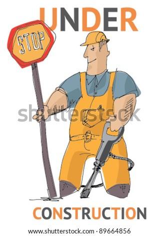 under construction - cartoon - allegory - stock vector