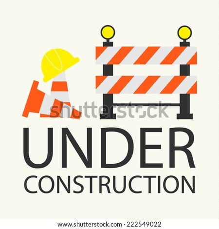 Under construction concept in flat design style, vector illustration - stock vector