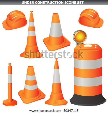 Under construction cones set isolated on white vector - stock vector