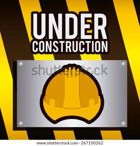 Under Construction design over barrier background, vector illustration - stock vector