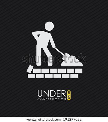 Under construction design over black background, vector illustration - stock vector