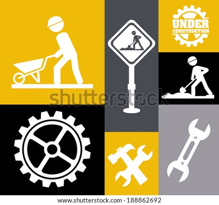Under construction design over colorful background, vector illustration - stock vector