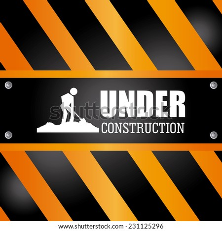 Under construction design over yellow and black background,vector illustration