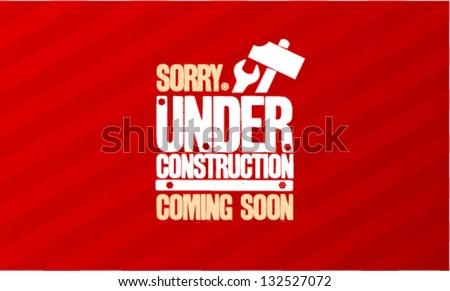 Under construction design template. - stock vector