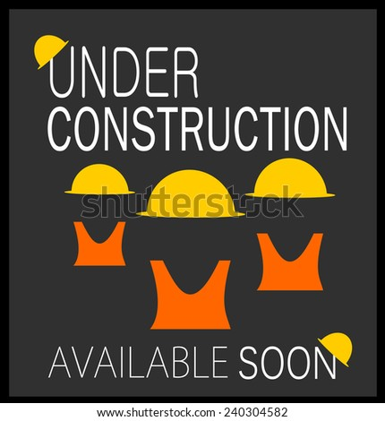 under construction graphic design with hard hats and safety vests - stock vector