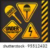 Under construction. Grunge signs with the lighting and spade - stock vector