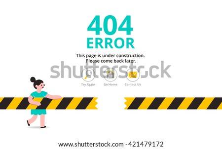 Under construction illustrated error web page template, vector illustration - stock vector