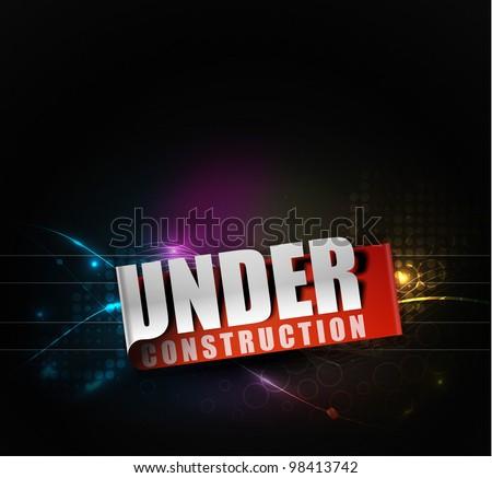 under construction label illustration design. - stock vector