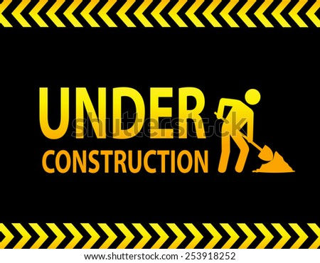Under construction landing page - stock vector