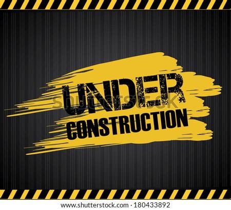 under construction over black background vector illustration  - stock vector