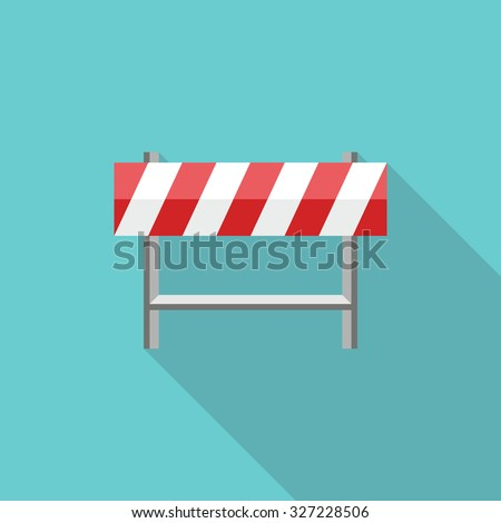 Under Construction Road Sign. Flat style with long shadows, Stop sign vector icon illustration. - stock vector
