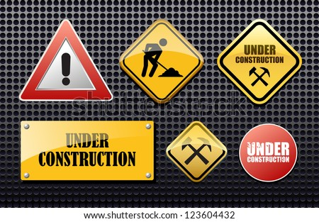 Under construction set vector sign for site - stock vector