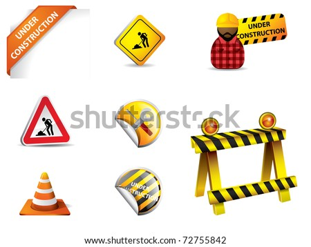 under construction sign and symbols - stock vector