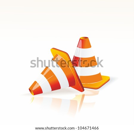 Under construction sign and traffic cone icons. - stock vector