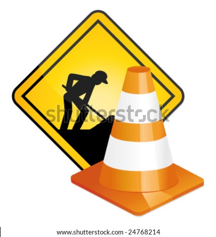 Under construction sign and traffic cone vector - stock vector