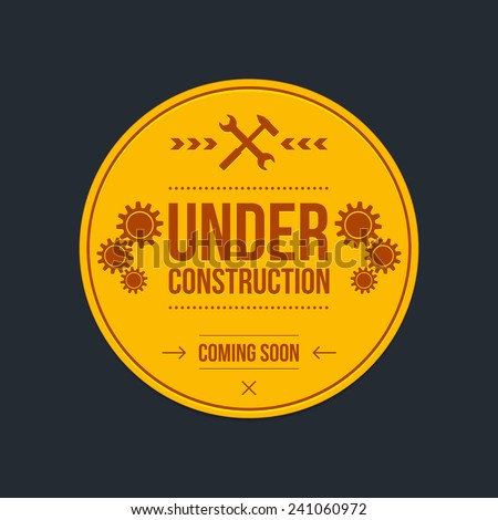 Under construction sign, graphic design, vector - stock vector