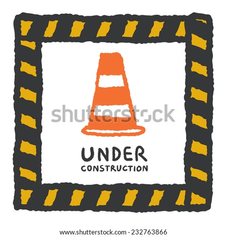 Under construction sign in cartoon style, freehand drawing vector Illustration - stock vector