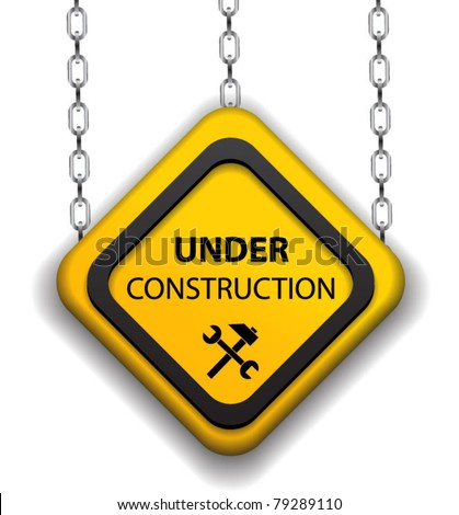 Under construction sign on chain-vector - stock vector