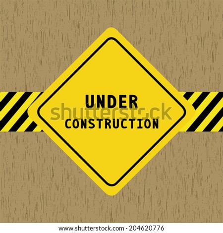 Under construction sign on wood pattern background. - stock vector