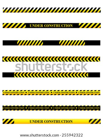 Under construction sign page divider / tape collection - stock vector