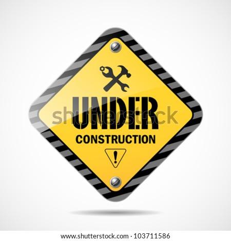 Under construction sign, vector illustration - stock vector