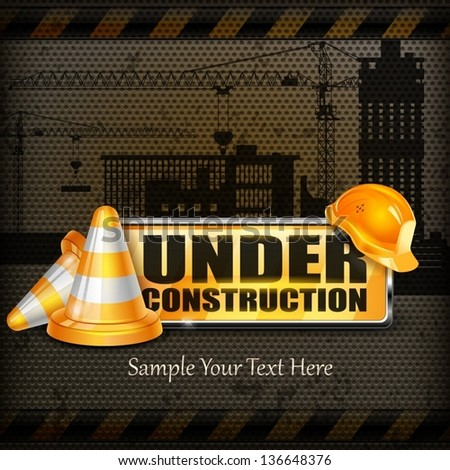 Under construction sign yellow & traffic cones, helmet on black, vector illustration, - stock vector