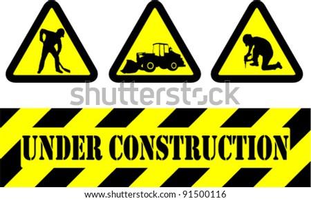 under construction signs - vector - stock vector